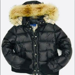 Burberry Down & Fur Hooded Puffer Jacket